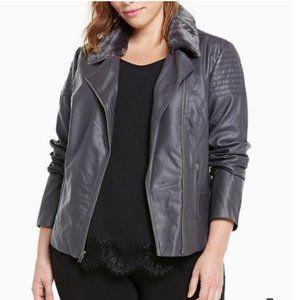 Torrid Lace Up Back Faux Fur Collar Moto Jacket 4X